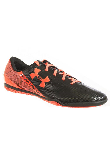 UNDER ARMOUR MEN'S SF FLASH ID INDOOR SOCCER CLEATS BLACK FLASH ORANGE 11