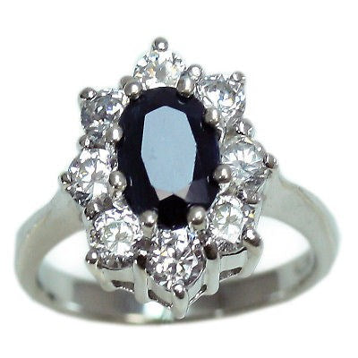 Sterling Silver Gen. Sapphire & CZ Princess Di Ring 7