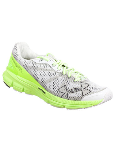 UNDER ARMOUR MENS ATHLETIC SHOES CHARGED BANDIT WHITE NEON GREEN GREY 9 M