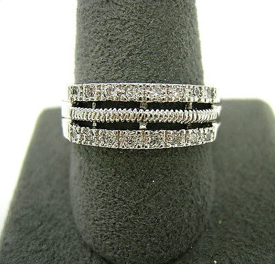 Sterling Silver 3 Row CZ Band size 10