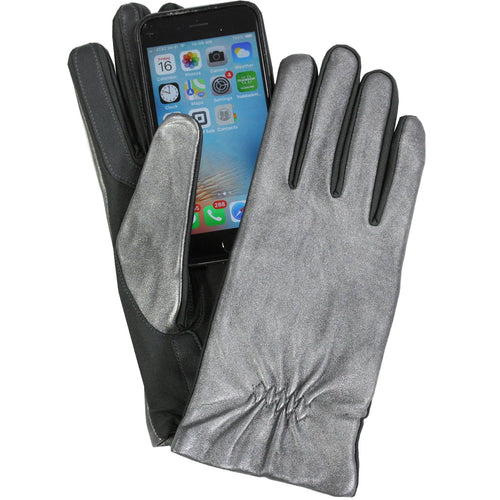 Isotoner Womens Leather & Spandex Smartouch Touchscreen Glove Silver S/M