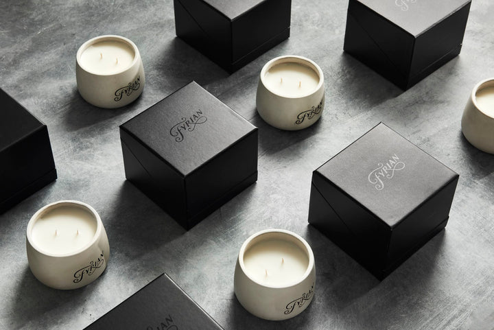 housewarming gifts, mens candle, matte black packaging, luxury candles, concrete vessel, industrial style