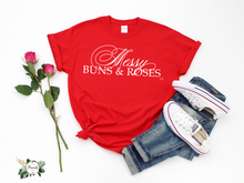 "Load image into Gallery viewer, ""Messy Buns & Roses"" T-Shirt Wht"