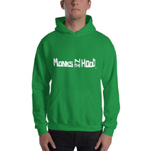 "Load image into Gallery viewer, ""Monks N The Hood"" Hooded Sweatshirt Wht"
