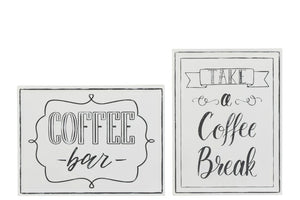 Metal White Placard Coffee