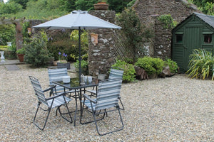 GARDEN COLLECTION Four Seater Grey Stripe Set
