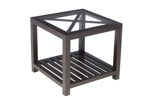 BLACK SQUARE SIDE TABLE WITH 1 CROSS WOOD/GLASS
