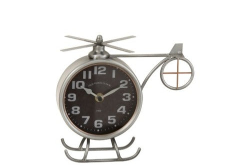 CLOCK HELICOPTER IRON GREY