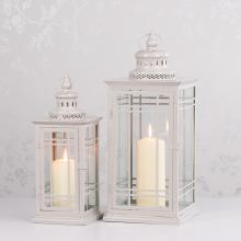 MAISEY S/2 LANTERNS SQUARE ANTIQUE GREY