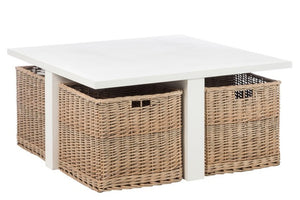Coffee Table Square + 4 Baskets Wood White