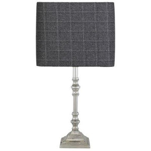Small Nickle Candlestick Lamp With Tartan Grey Shade