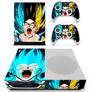 Skin Xbox One S Visages Goku et Vegeta Transformations Dragon Ball