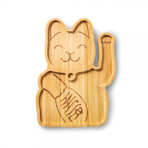 Luck Cat Bamboo Plate