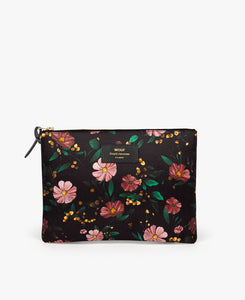 Black Flowers XL Pouch