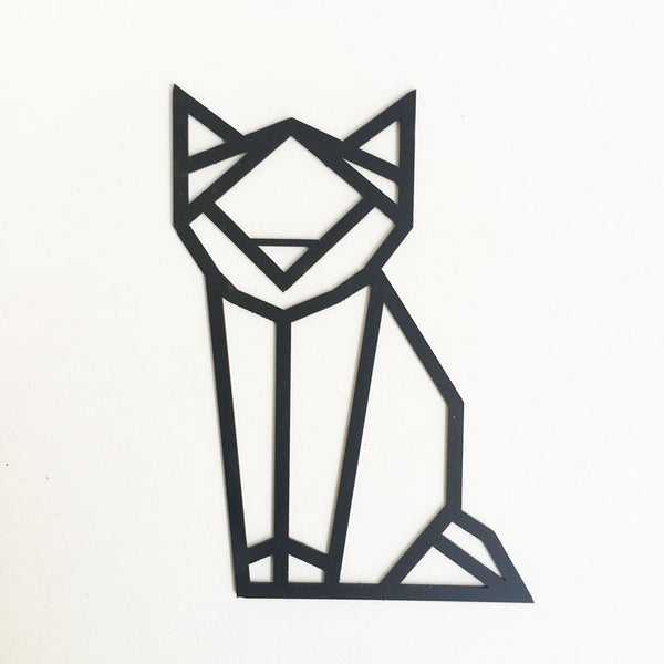 Origami Cat Steel Wall Deco (real size)