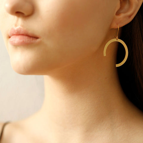 Circle Three Quarters Earrings Small