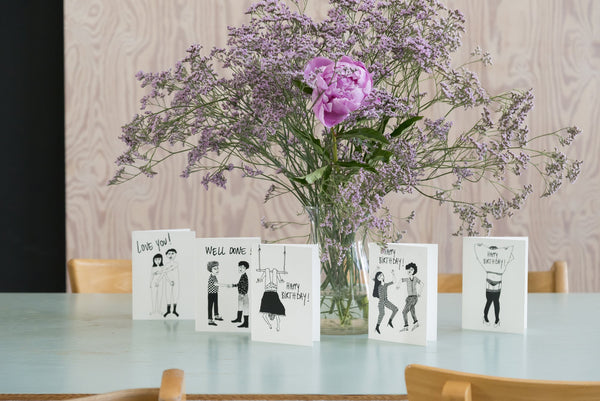 Happy birthday dancing couple Greeting card