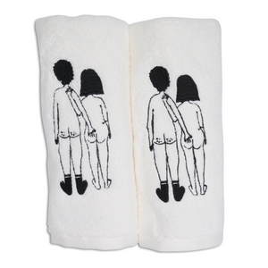 Guest towel Naked Couple back (set of two)