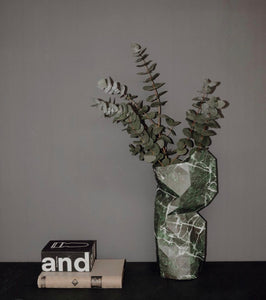 Large Paper Vase Cover - Green Marble