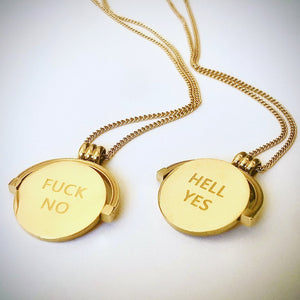 Destiny 'Hell Yes, Fuck No' Spinner Necklace