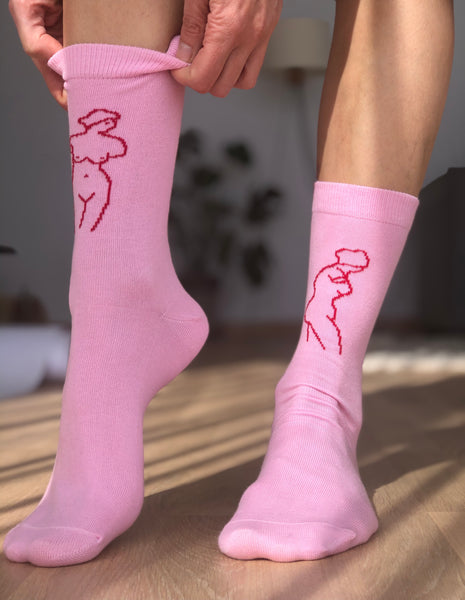 Mighty Aphrodite Socks - Pink