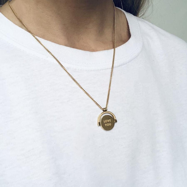 Love you/Fuck off Mini Spinner Necklace