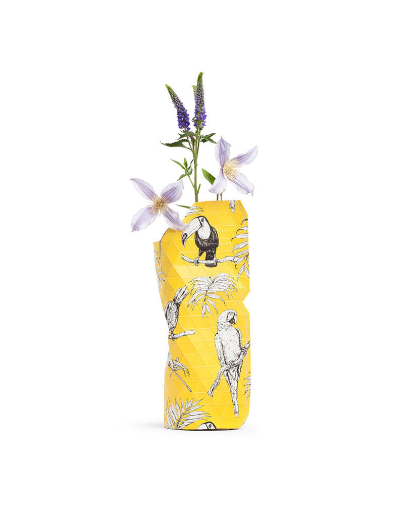 Small Paper Vase Cover - Yellow Birds