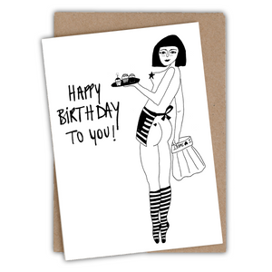 Happy birthday pin-up cake girl Greeting card