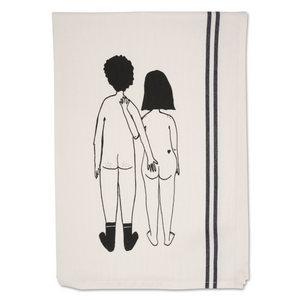 Tea Towel Naked Couple Back