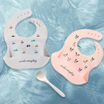 Load image into Gallery viewer, Cartoon Print Soft Silicone Baby Bibs