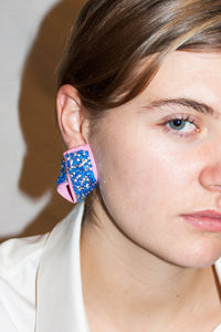 Small Baroque Earrings / Blue