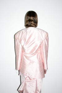 Draped Dropped Shoulder Jacket / Baby Pink