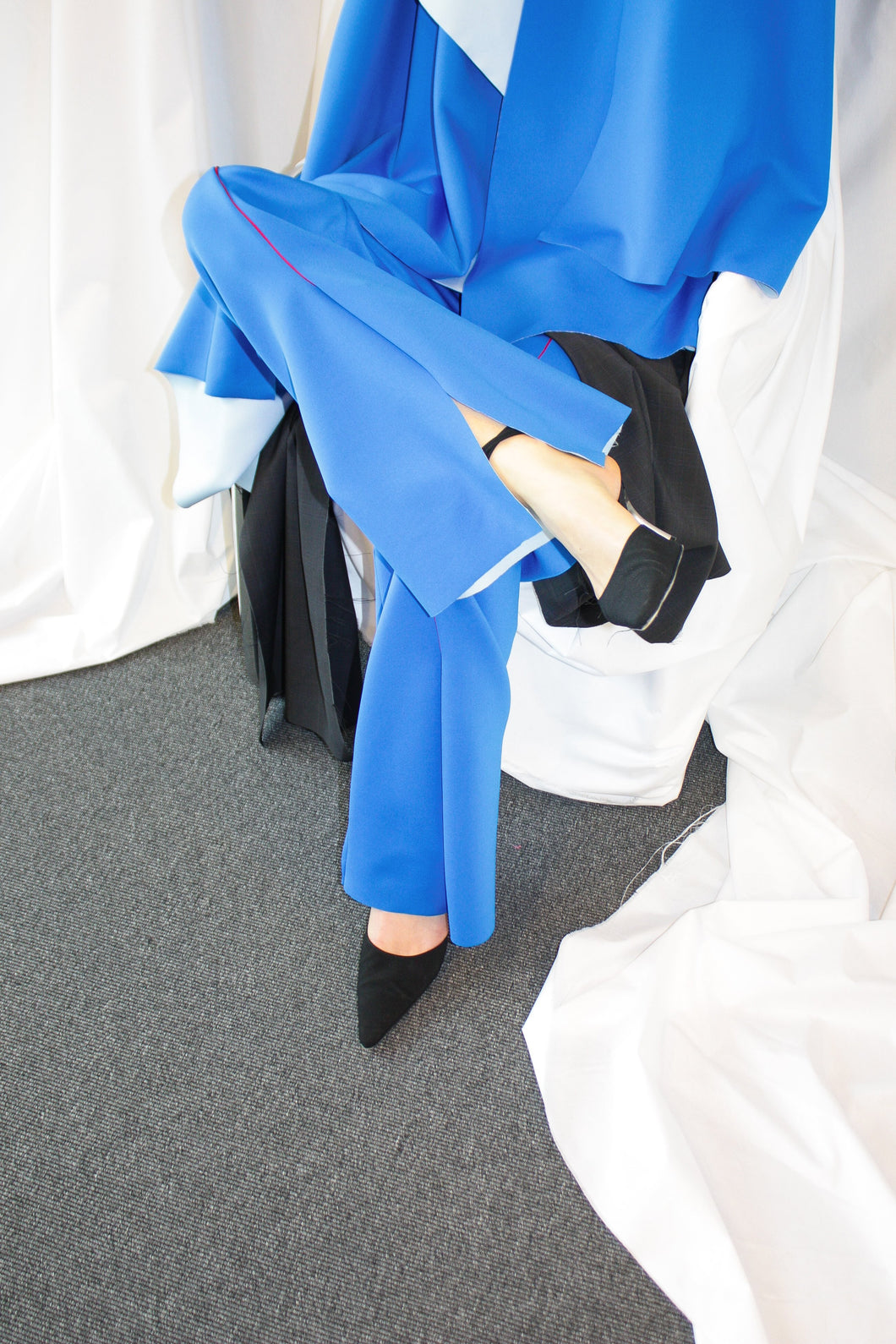 Fold Trousers / Cobolt Blue w Red Piping