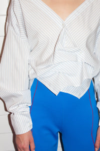 Dropped Back Drape Shirt / White Stripe
