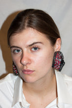 Load image into Gallery viewer, Frilly Baroque Earrings / Red