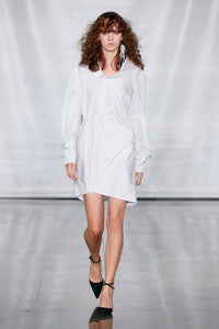Dropped Neckline Shirt Dress