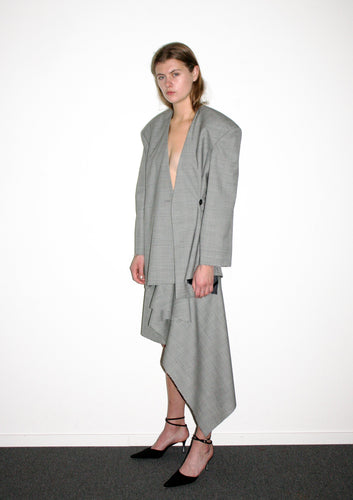 Draped Dropped Shoulder Jacket / Prince of Wales Check