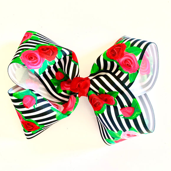 Black and White Floral Rose - Medium Bow