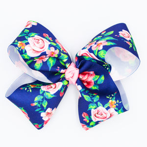 Navy Floral Rose - Medium Bow