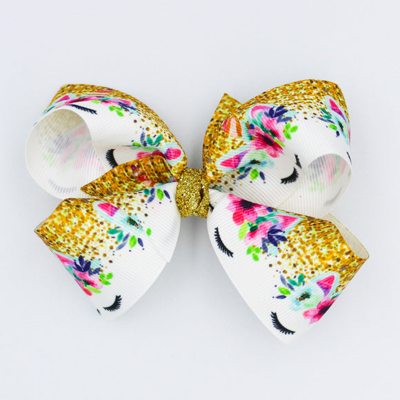 Floral Unicorn Gold Glitter Knot - Small Bow