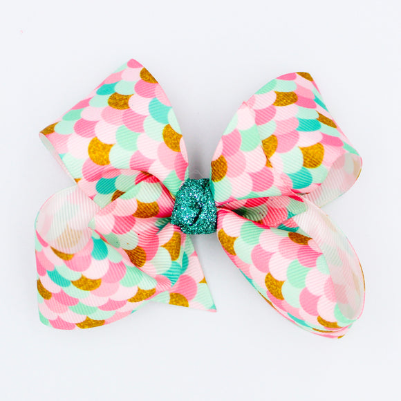 Mermaid Scale Glitter Knot - Small Bow