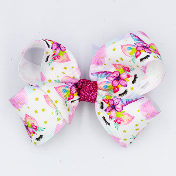 Floral Unicorn Pink Glitter Knot - Small Bow