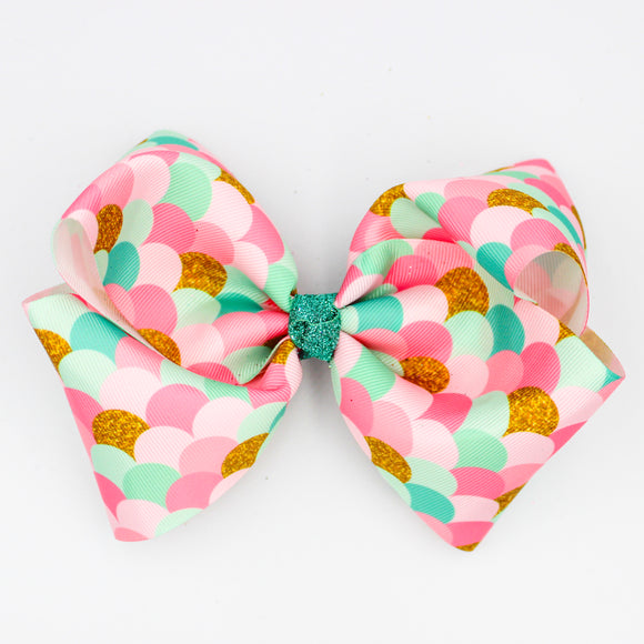Mermaid Scale Glitter Knot - Large Bow