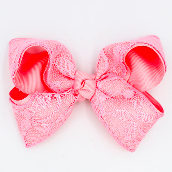 Pink Lace Overlay - Small Bow