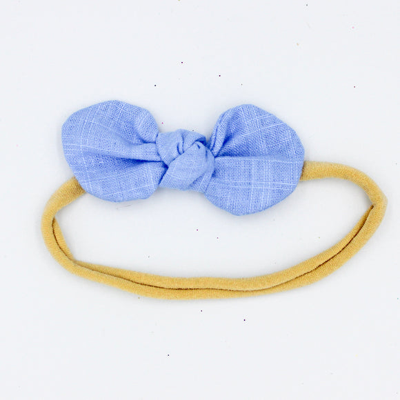 Denim Blue Caroline Headband  - Mini Bow