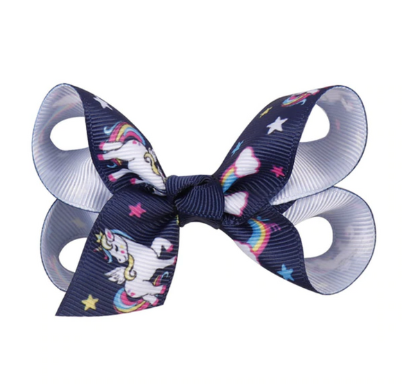 Navy Unicorn - Mini Bow