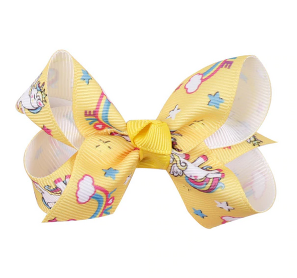 Yellow Unicorn - Mini Bow