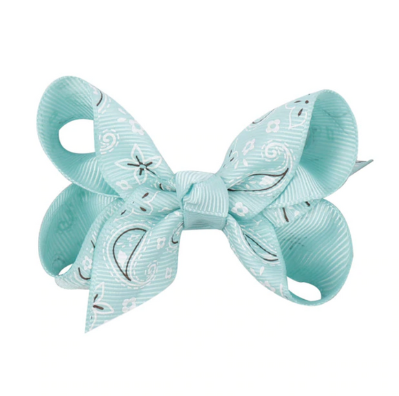 Mint Paisley - Mini Bow