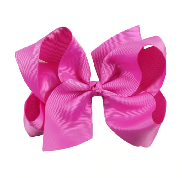 Classic Bright Rose Pink - Large Bow