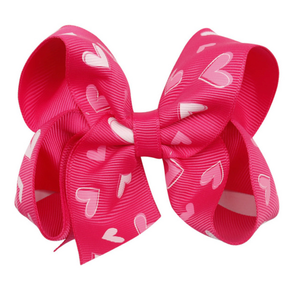 Bright Pink Heart Print - Small Bow